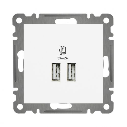 KOMBI USB DOSE LADEGERÄT DOPPEL USB ( Eisnatz + Deckel ) LUNIS Alpinweiss