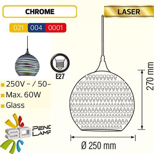 LASER  RUND CHROM E27 3D PENDAENT LAMP