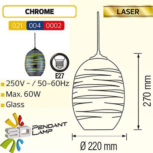 LASER OVAL CHROM E27 3D PENDAENT LAMP