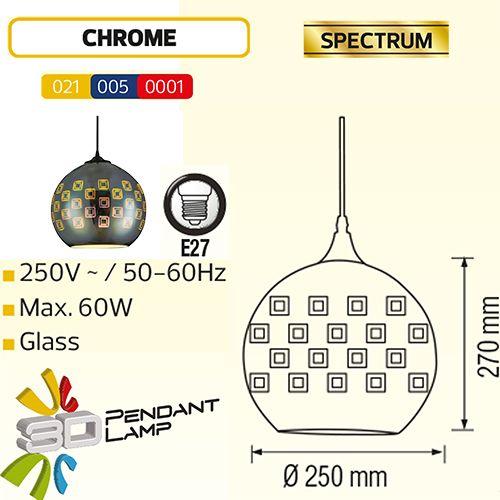SPECTRUM RUND CHROM E27 3D PENDAENT LAMP