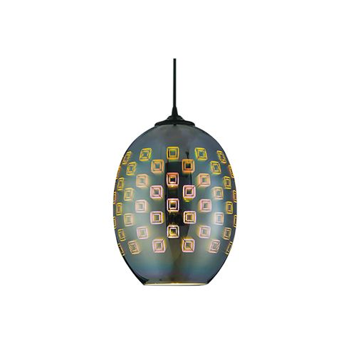 SPECTRUM OVAL CHROM E27 3D PENDAENT LAMP