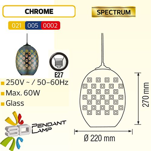 SPECTRUM OVAL CHROM E27 3D PENDAENT LAMP