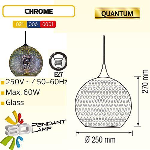 QUANTUM RUND CHROM SPECTRUM E27 3D PENDAENT LAMP
