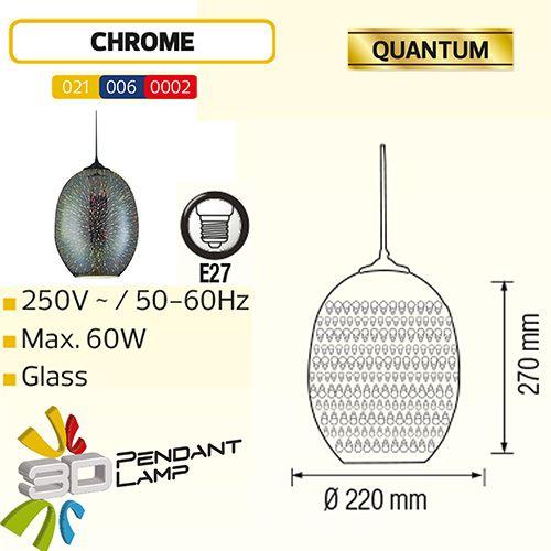 QUANTUM OVAL CHROM SPECTRUM E27 3D PENDAENT LAMP