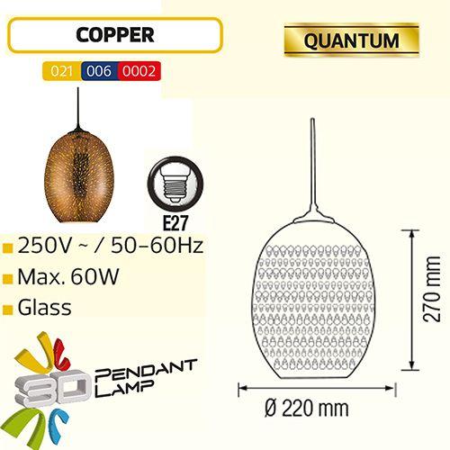 QUANTUM OVAL KUPFER SPECTRUM E27 3D PENDAENT LAMP