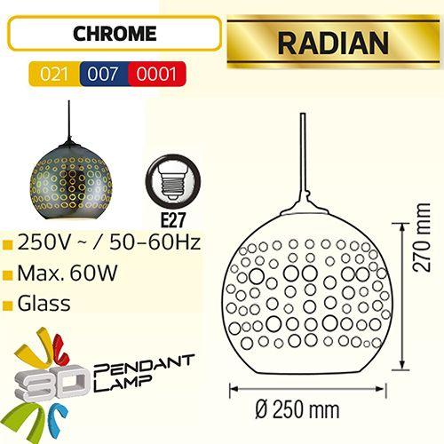 RADIAN OVAL CHROM SPECTRUM E27 3D PENDAENT LAMP
