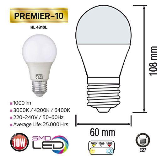 PREMIER-10 10W 4200K E27 175-250V LED Leuchtmittel