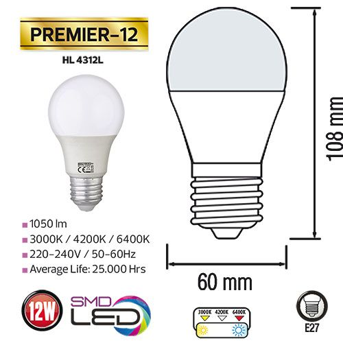 PREMIER-12 12W 4200K E27 175-250V LED Leuchtmittel