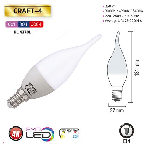 3,5W 3000K E14 LED Leuchtmittel - CRAFT-4