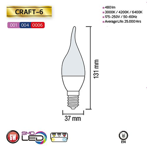6W 3000K E14 LED Leuchtmittel - CRAFT-6
