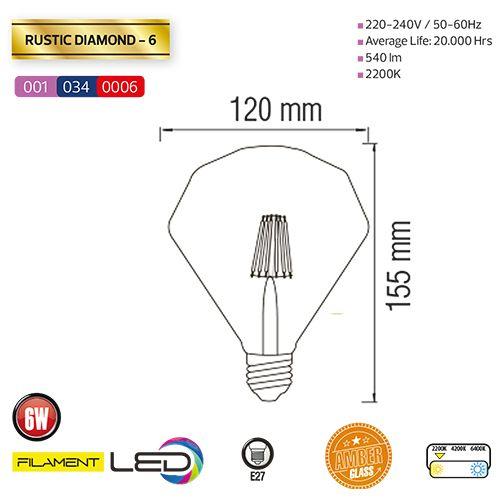 6W 2200K E27 LED Vintage Lampe Filament Leuchte - RUSTIC DIAMOND-6