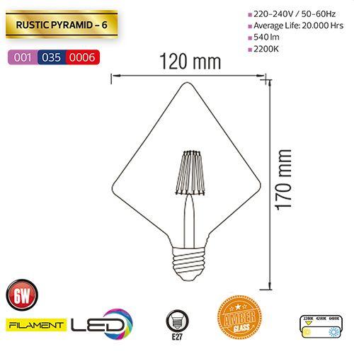 6W 2200K E27 LED Vintage Lampe Filament Leuchte - RUSTIC PYRAMID-6