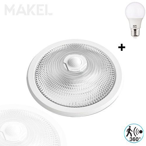 MAKEL Sensorlampe Deckenlampe 360 Grad mit 8W E27 Naturweiss