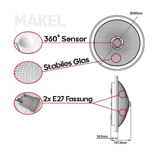 MAKEL Sensorlampe Deckenlampe 360 Grad mit 2x 8W E27 Warmweiss