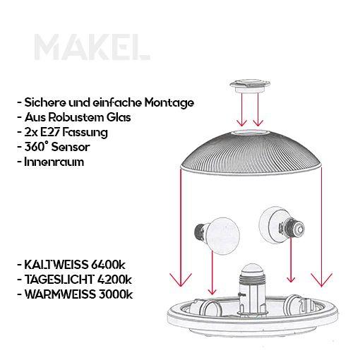 MAKEL Sensorlampe Deckenlampe 360 Grad mit 2x 8W E27 Naturweiss