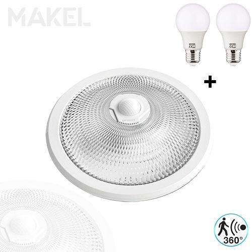 MAKEL Sensorlampe Deckenlampe 360 Grad mit 2x 8W E27 Kaltweiss