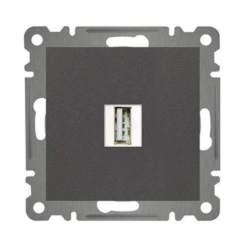 USB DURCHGANG ANSCHLUSSDOSE x ( Einsatz + Deckel ) KAREA ANTHRAZIT