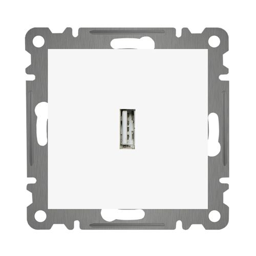 USB ANSCHLUSSDOSE  ( Einsatz + Deckel ) LUNIS Alpinweiss