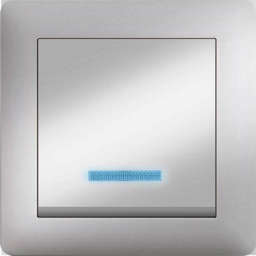 EIN UND AUSSCHALTER MIT LED ( Einsatz + Wippe ) LUNIS MET. SILBER