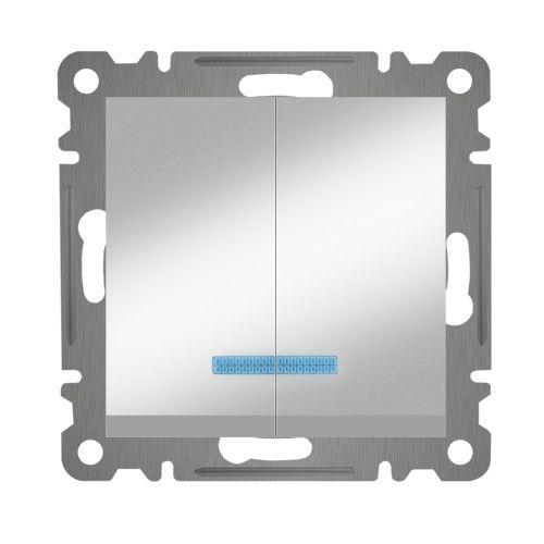 SERIENSCHALTER MIT LED ( Einsatz + Wippe ) LUNIS MET. SILBER