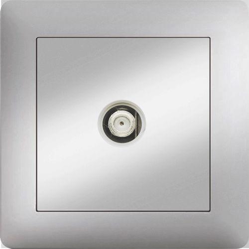 F ANSCHLUSS SAT DOSE END 0,5 dB  ( Einsatz + Deckel ) LUNIS MET. SILBER