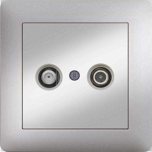 TV RADIO DOSE DURCHGANG 7dB ( Einsatz + Deckel ) LUNIS MET. SILBER