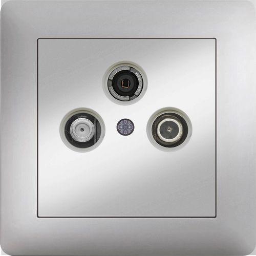 SAT-TV-RADIO DOSE DURCHGANG 4dB ( Einsatz + Deckel ) LUNIS MET. SILBER