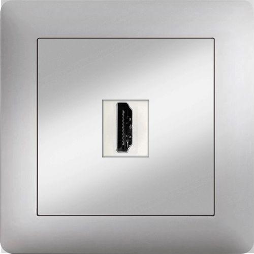 HDMI ANSCHLUSSDOSE  ( Einsatz + Deckel ) LUNIS MET. SILBER