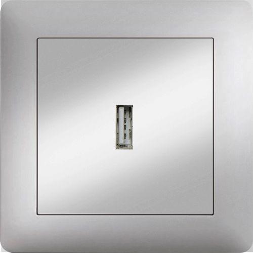 USB ANSCHLUSSDOSE  ( Einsatz + Deckel ) LUNIS MET. SILBER