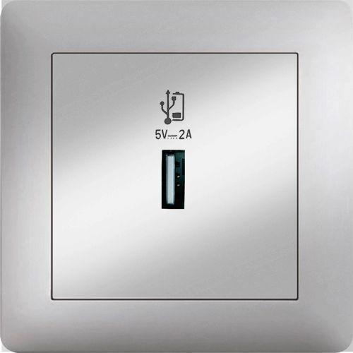 USB DOSE NETZTEIL LADEGERÄT   ( Einsatz + Deckel ) LUNIS MET. SILBER