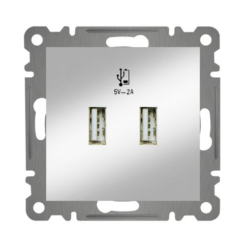 DOPPEL KOMBI USB DOSE NETZTEIL LADEGERÄT   ( Einsatz + Deckel ) LUNIS MET. SILBER