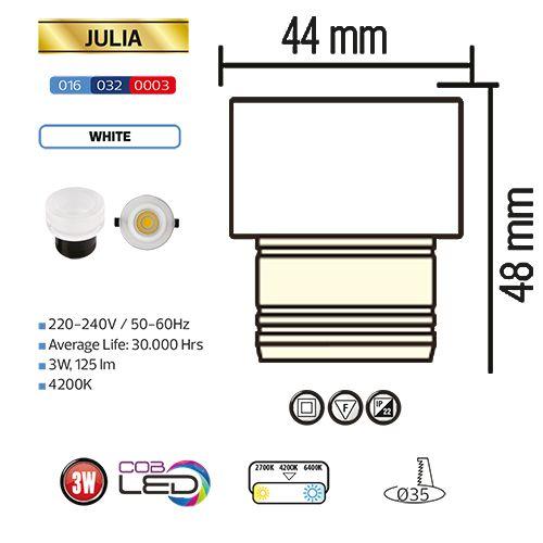 3W Weiss 4200K LED Einbaustrahler Einbauspot - JULIA
