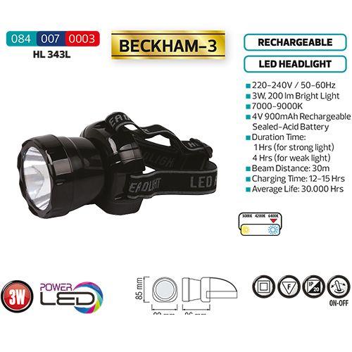 LED Stirnlampe Kopflampe Stirnleuchte 3W 7000K mit AKKU CREE HL343L