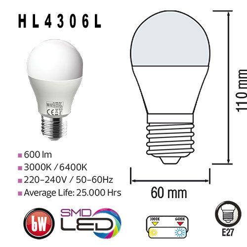 LED E27 6W 600LM 6400K HL4306L, kaltweiss